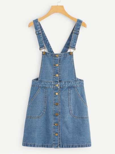 da654c0684c Robe salopette en jean avec bouton