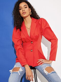 Puff Sleeve Boxed Pleated Hem Blazer