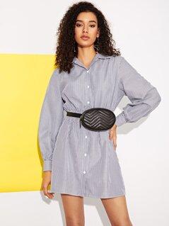 Button Front Striped Shirt Dress
