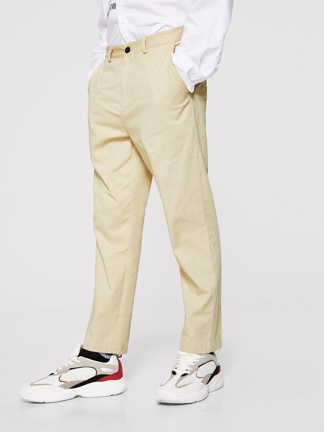 Купить Мужские однотонные брюки на молнии, EGOR, SheIn