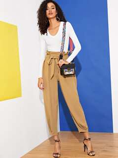 Paperbag Waist Slant Pocket Gathered Hem Pants