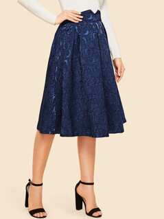 Notched Waist Box Pleated Floral Jacquard Skirt