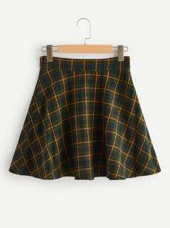 Plaid Print Flare Skirt