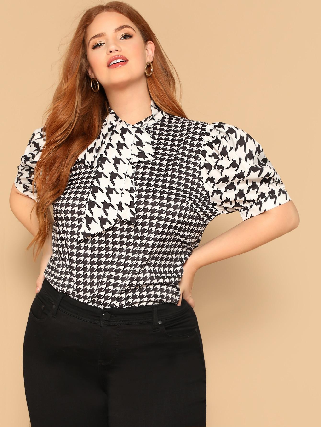 Купить Размера плюс блуза в клетку с оригинальным рукавом и завязкой на шее, Bree Kish, SheIn