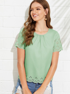 Scalloped Laser Cut Insert Blouse