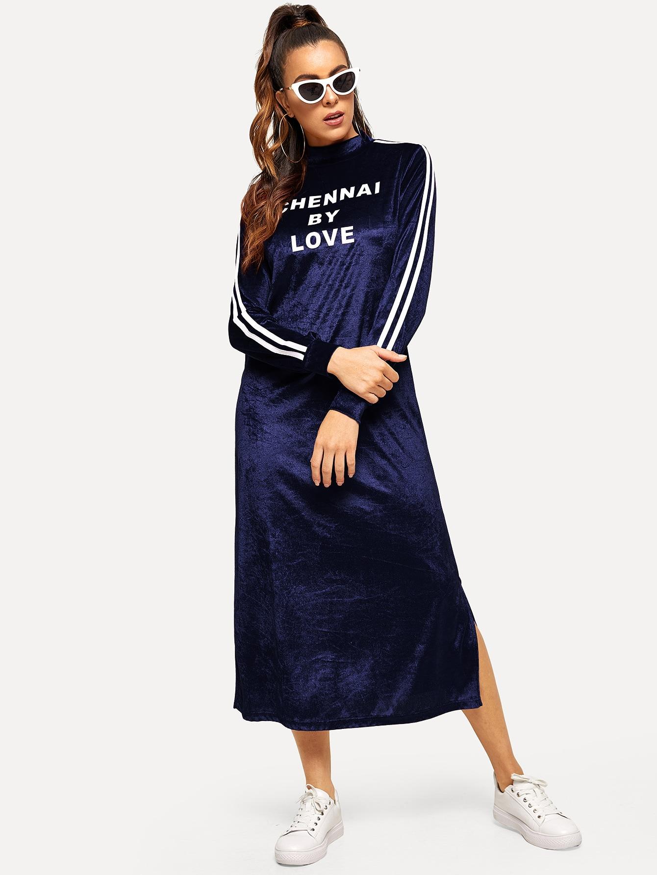 Купить Бархатное платье со стоячим воротником и текстовым принтом, DANI A, SheIn