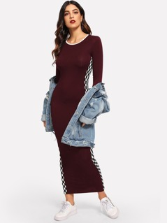 Checked Side Seam Bodycon Dress