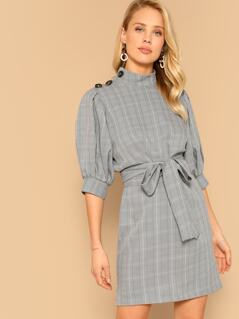 Buttoned Shoulder Puff Sleeve Belted Plaid Dress