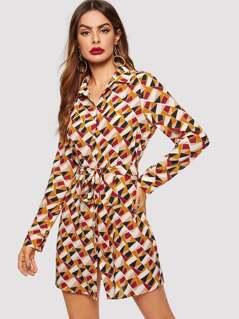 Waist Belted Geo Print Shirt Dress