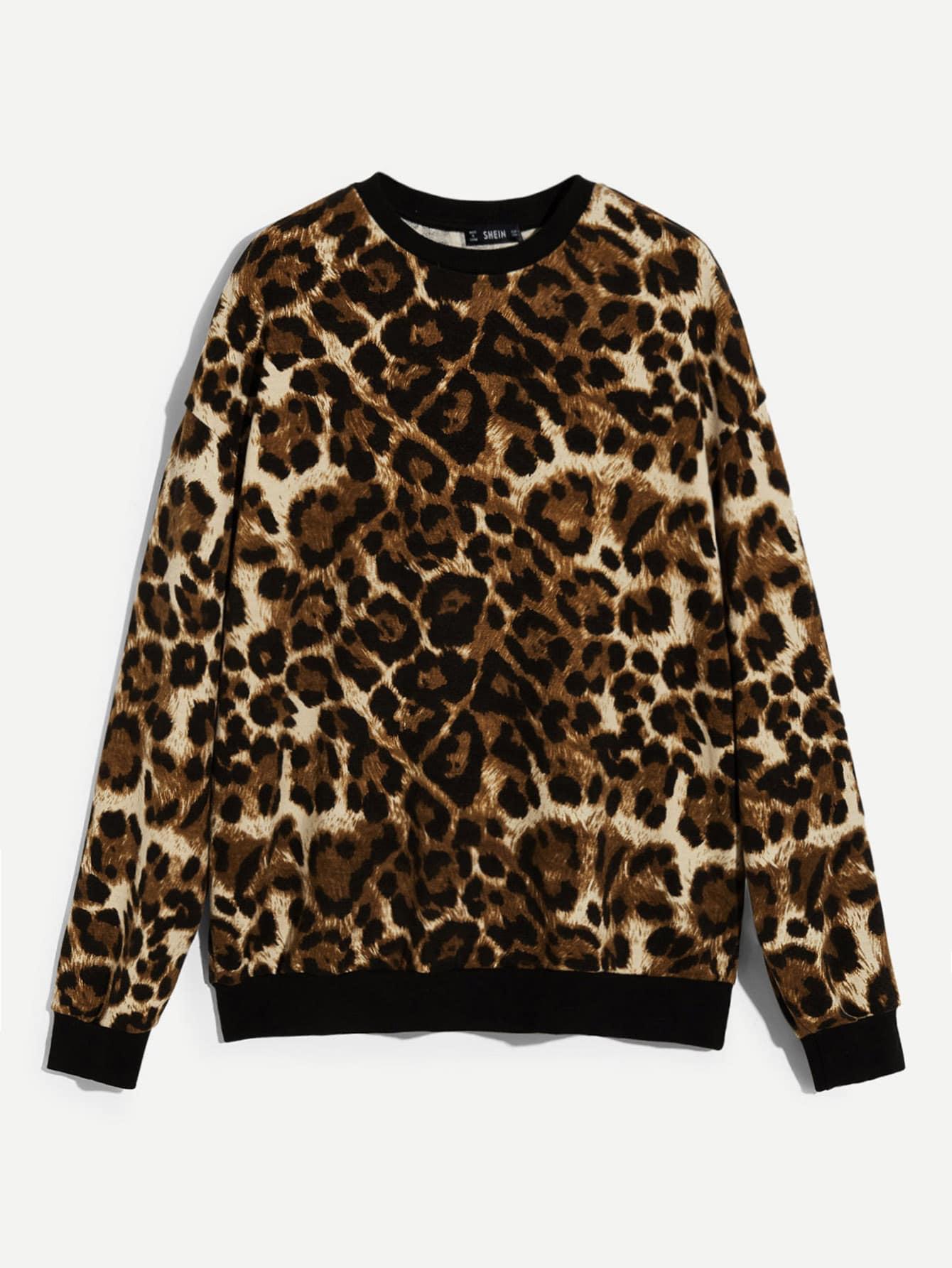Купить Мужской леопардовый свитшот с контрастной отделкой, null, SheIn