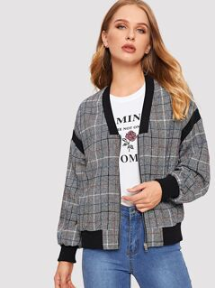 Contrast Trim Plaid Jacket