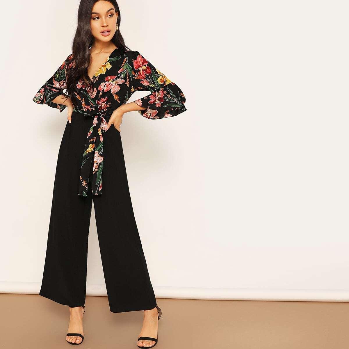 Veel kleurig Elegant Bloemen Jumpsuits Rits