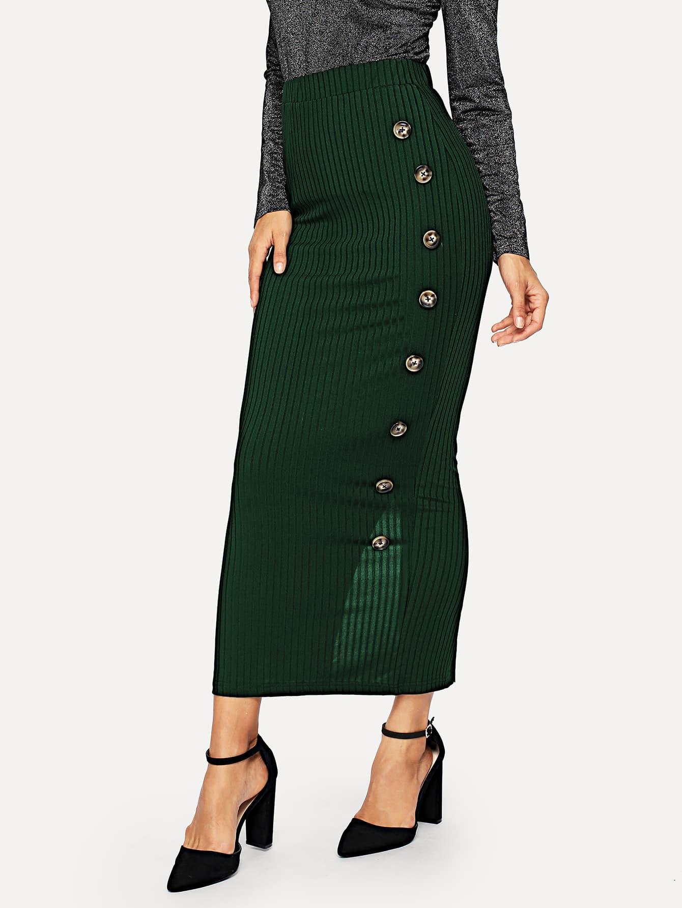 Купить Вязяная ребристая юбка с разрезом и пуговицами, Juliana, SheIn