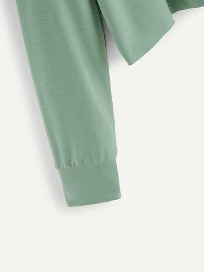 SheIn / Drop Shoulder Raw Hem Crop Pullover