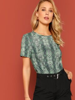 Short Sleeve Snakeskin Print Top