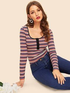 80s Half Placket Striped Fitted Tee
