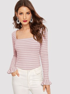 Square Neck Bell Cuff Ribbed Striped Tee