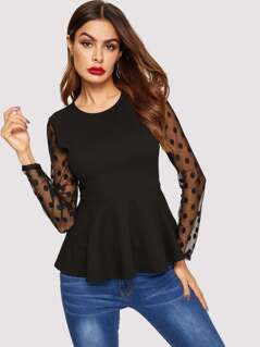 Dot Mesh Sleeve Peplum Hem Blouse