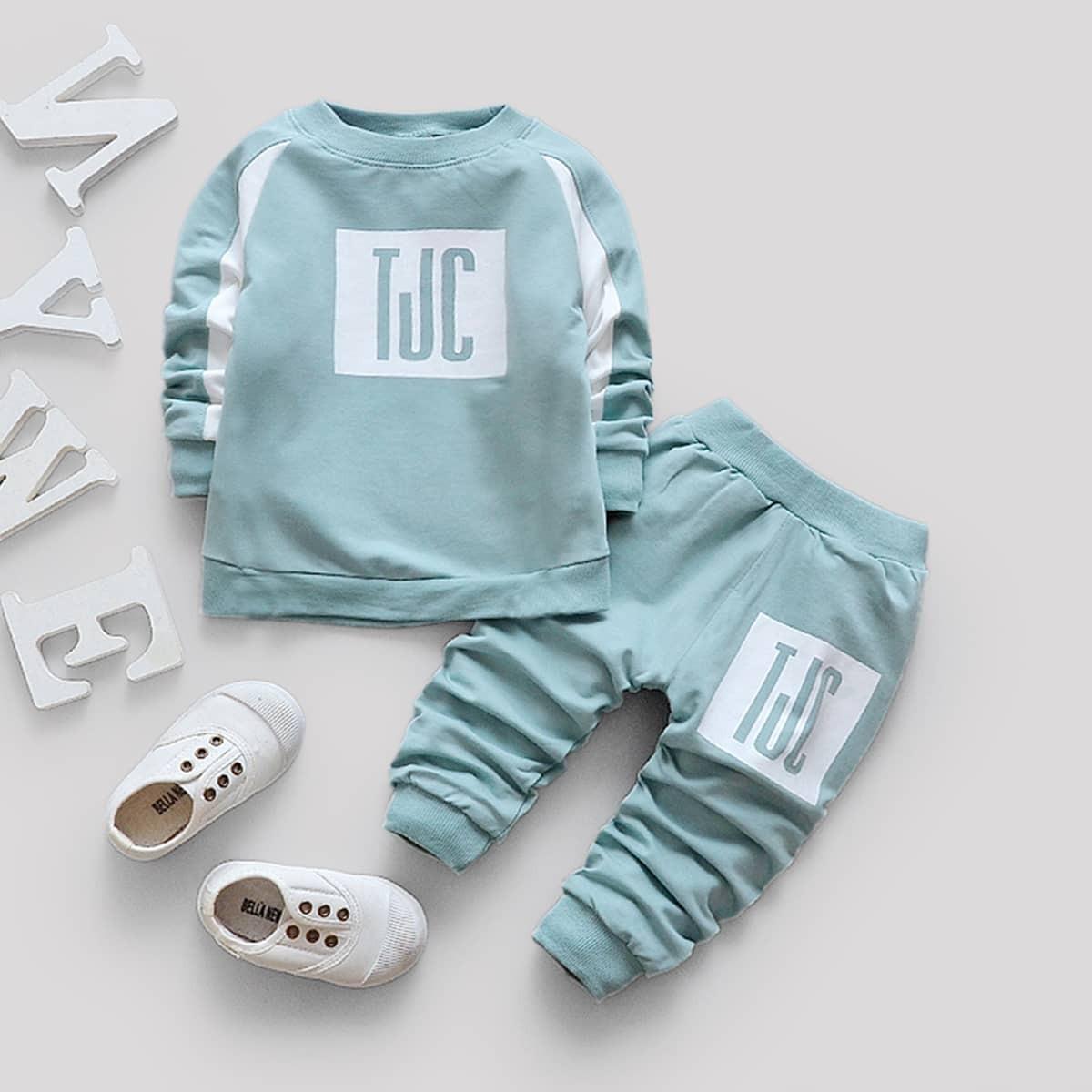 Свитшот с рукавом-регланом и брюки с текстовым принтом для маленьких мальчиков от SHEIN
