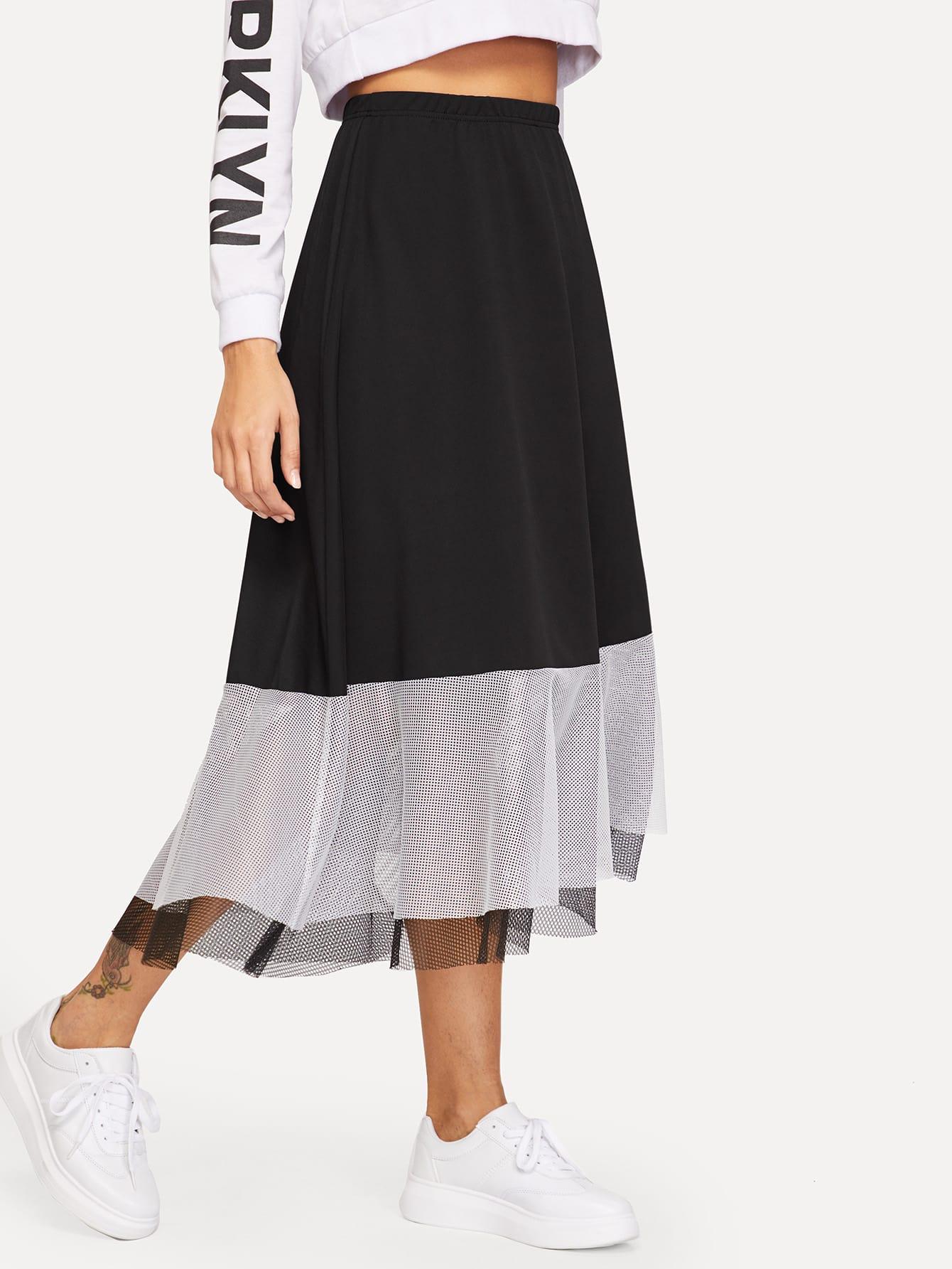 Купить Контрастная юбка с эластичной талией, Giulia, SheIn