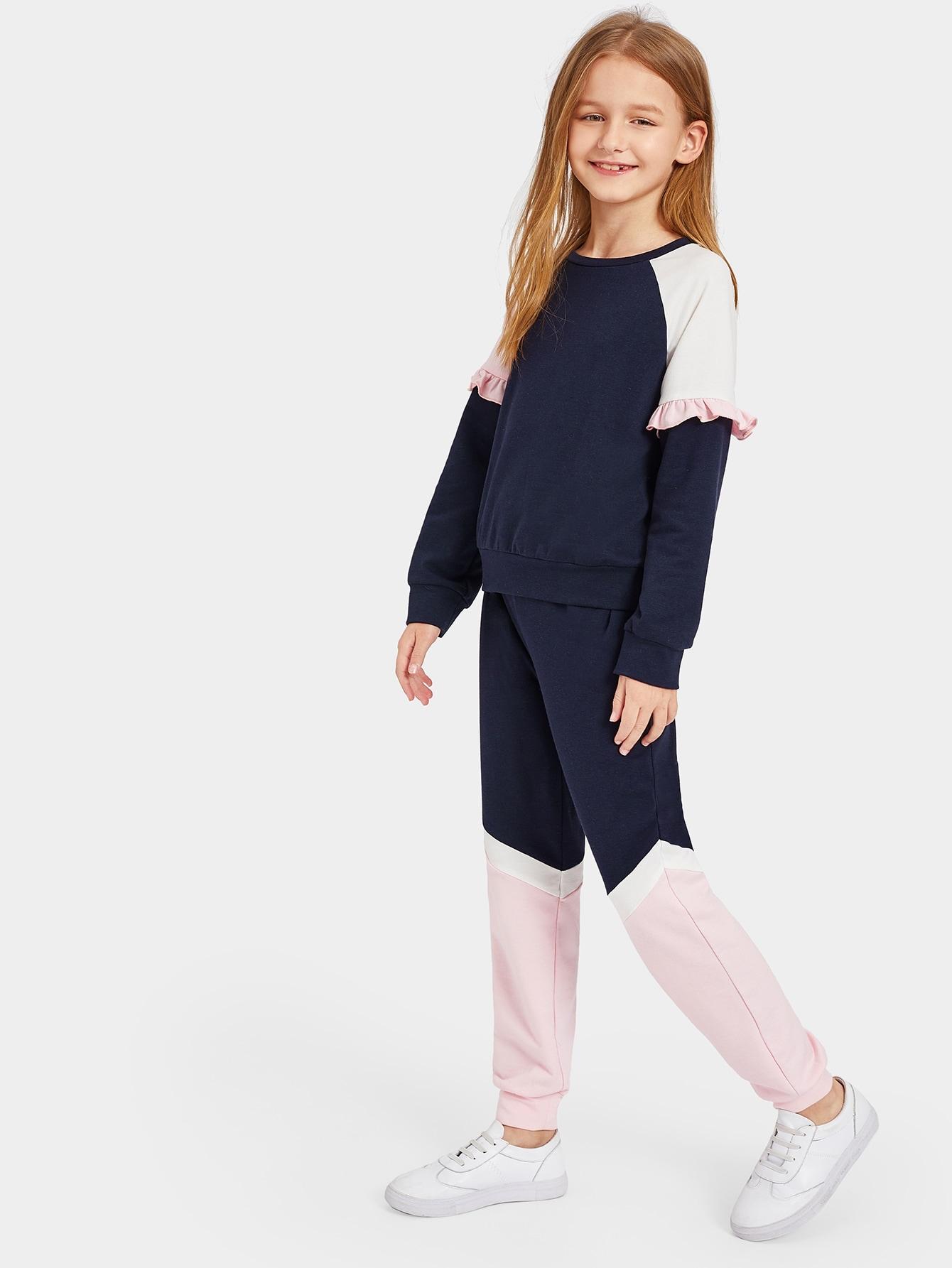 Двухцветный свитшот со складкой м спортивные брюки для девочек от SheIn