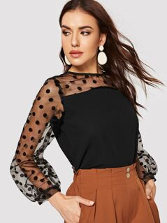Contrast Mesh Polka Dot Top