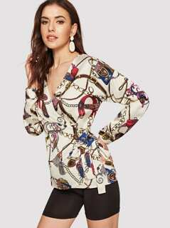 Knot Side Chain Print Blouse
