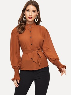 Frill & Shirred Cuff Buttoned Blouse
