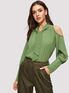 Tie Neck Cold Shoulder Buttoned Cuff Top