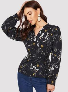 Bishop Sleeve Botanical Wrap Top