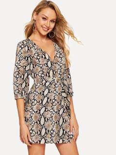 Snake Print Surplice Wrap Dress