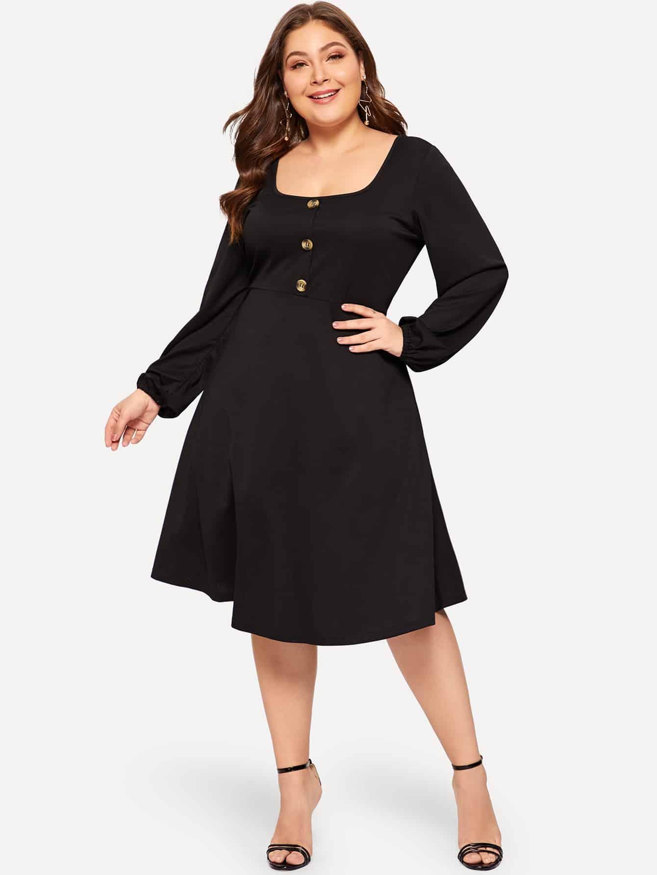 Купить Размер плюс приталенное расклешенное платье с пуговицами, Carol, SheIn