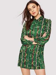 Circle & Stripe Print Buttoned Shirt Dress