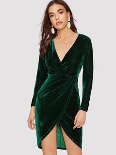 Tulip Hem Velvet Dress