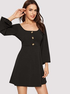 Buttoned Up Flared Dress