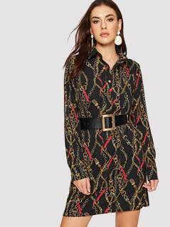 Chain Print Button Front Belted Dress