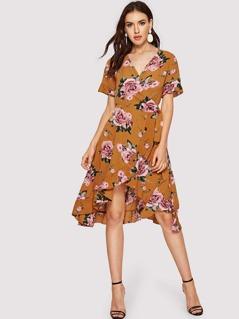 Floral Print Ruffle Trim Asymmetric Wrap Dress