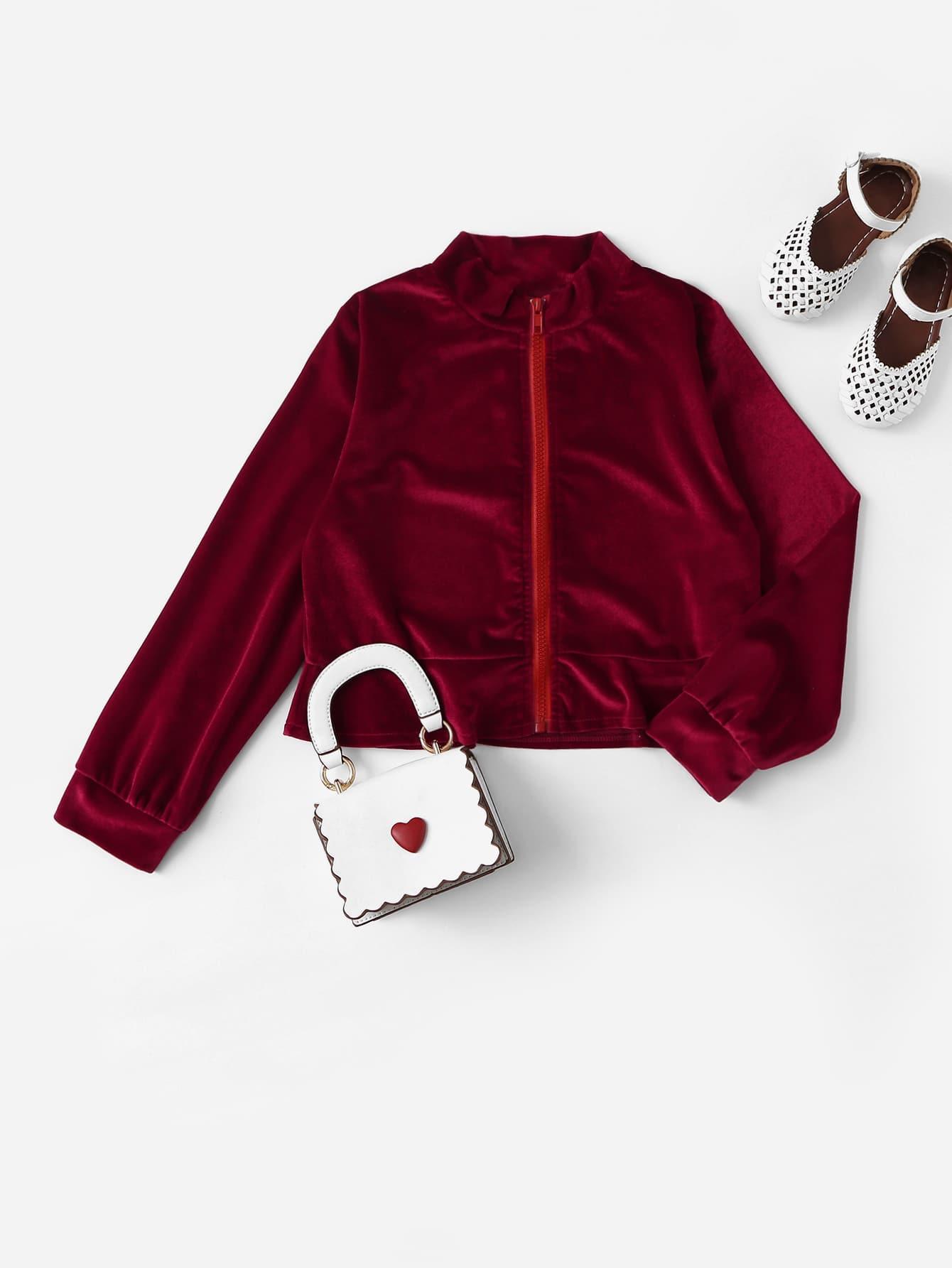 Купить Бархатная куртка со стоячим воротником и молнией и оборкой для девочек, null, SheIn