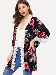Contrast Lace Trim Floral Kimono