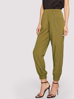 Elastic Waist & Hem Solid Pants with Chain