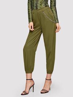 Elastic Hem Crop Pants With Chain