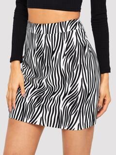 Zip Back Zebra Print Bodycon Skirt