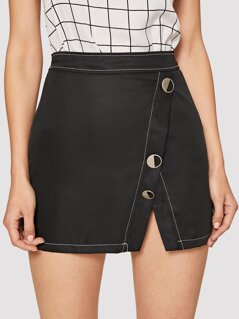 Contrast Stitch Buttoned Notch Hem Skirt