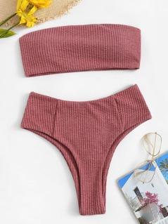 Rib-knit Bandeau Bikini Set