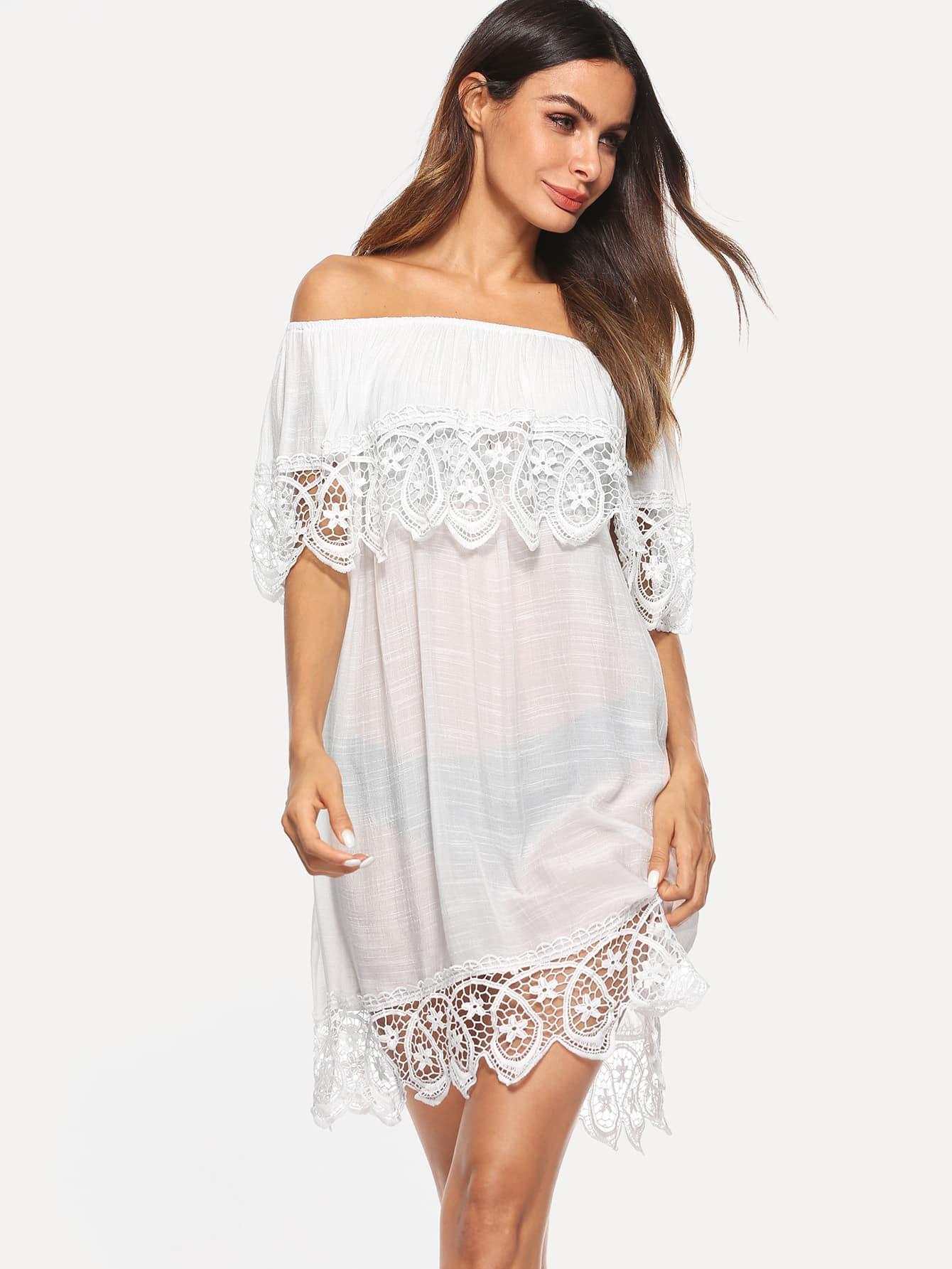 Купить Платье-туника с открытыми плечами и кружевным подолом, Andy, SheIn