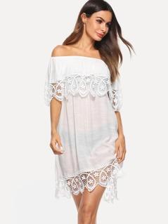 Off Shoulder Lace Hem Tunic Dress