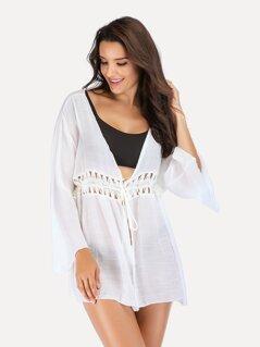 Bell Sleeve Lace Insert Tied Waist Kimono