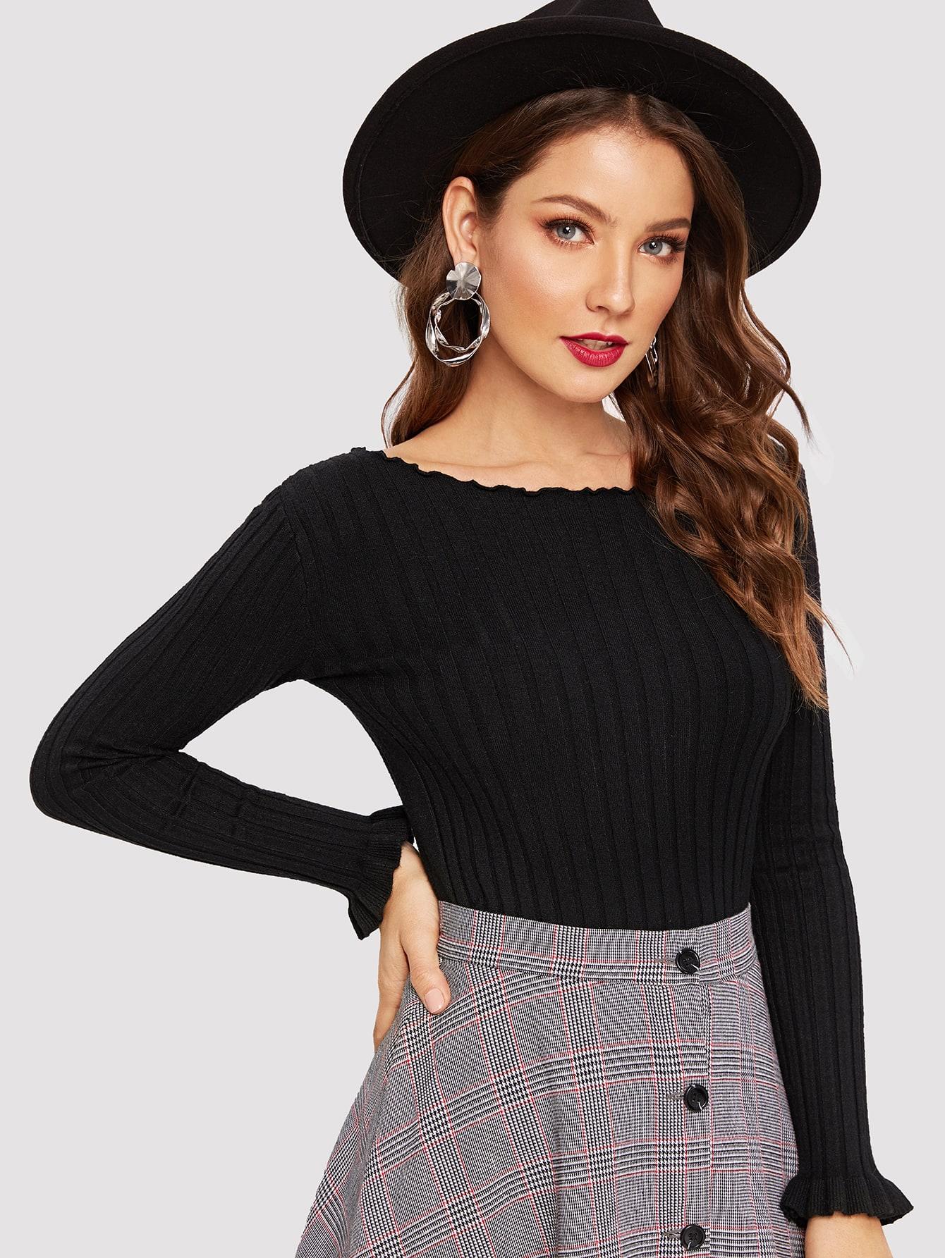 Купить Вязаный прилегающий свитер с оригинальной отделкой, Debi Cruz, SheIn