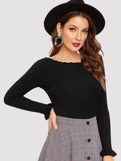 Lettuce Trim Rib-knit Form Fitting Sweater