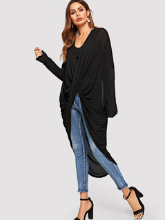 Batwing Sleeve Asymmetrical Hem Twist Sweater